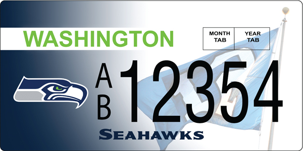 Reppin The 12 Seahawks License Plates