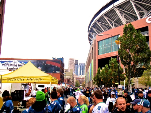 Occidental Ave packed with 12s pre-game.